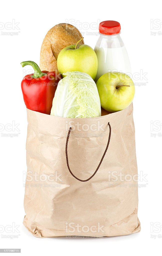 Paper bag with vegetables and food royalty-free stock photo