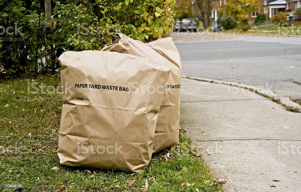 Paper bags of yard waste beside street stock photo
