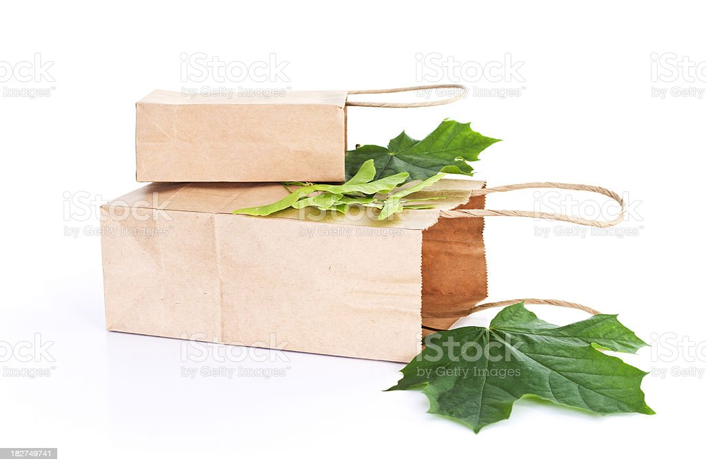 Paper Bags with Leaves royalty-free stock photo