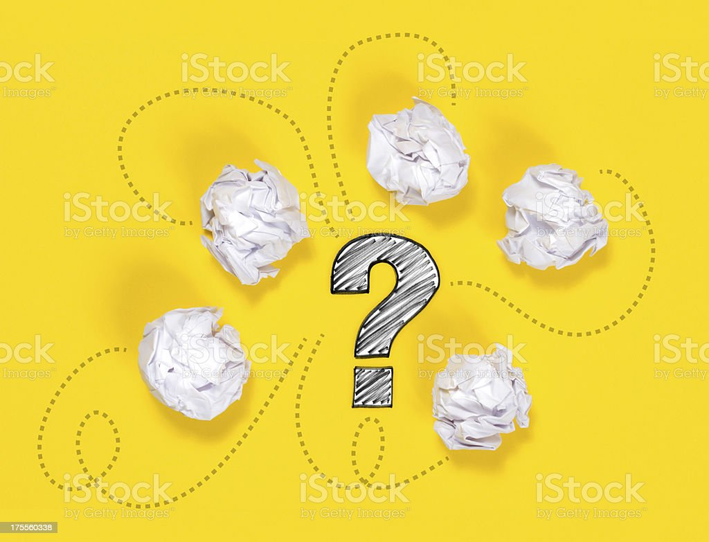 Paper Ball and Question Mark on Yellow stock photo