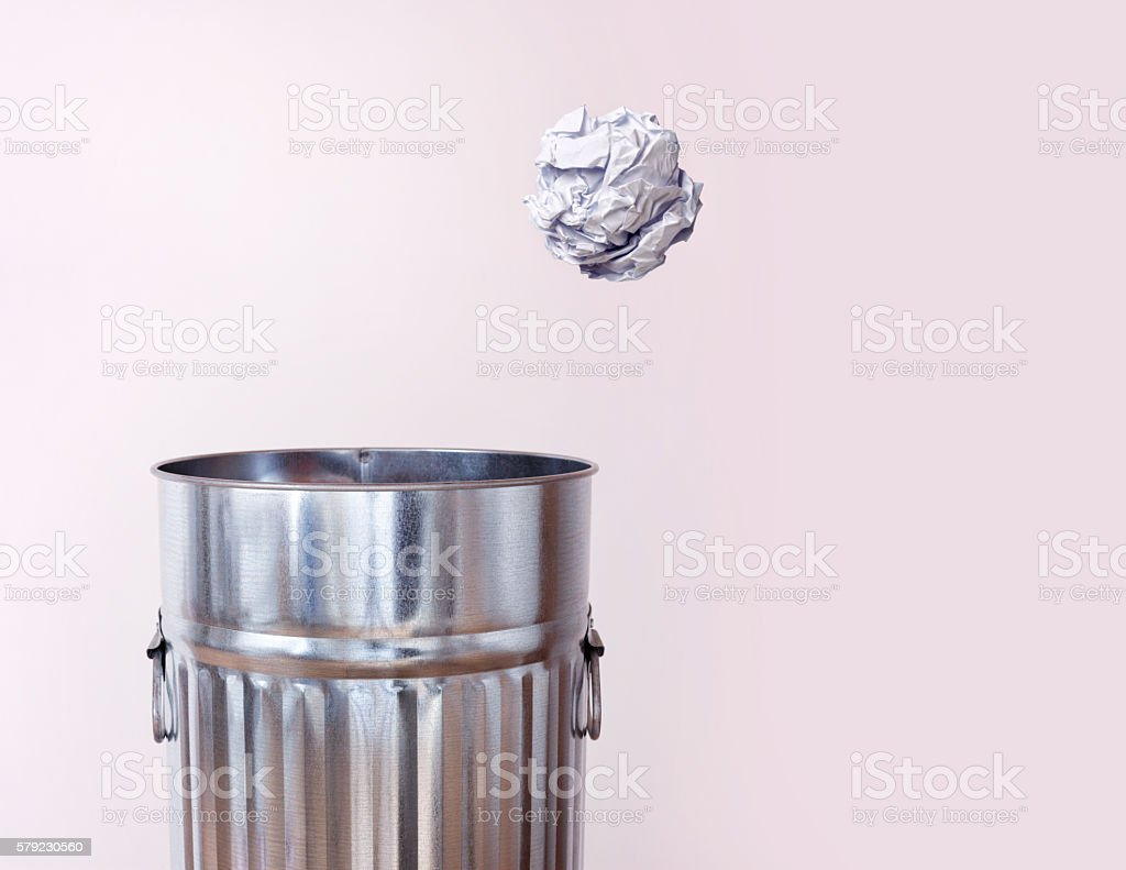 Paper Ball And Trash Can stock photo