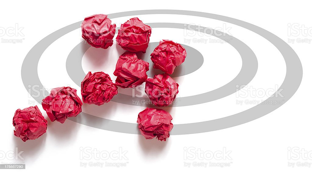 Paper Ball Arrow on Target royalty-free stock photo