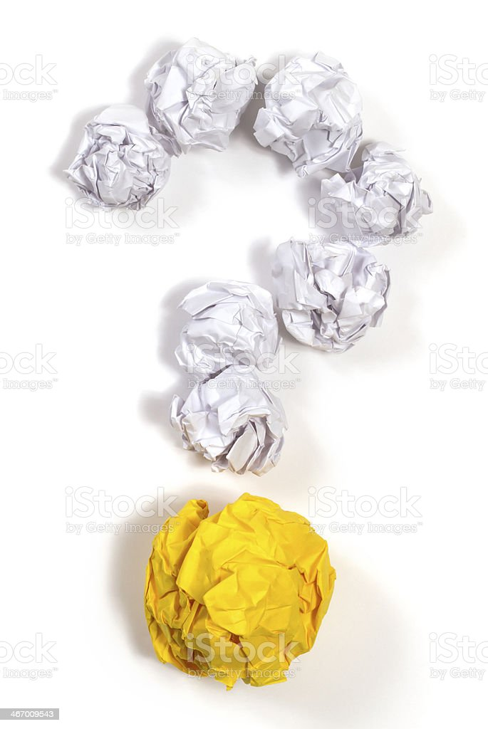 Paper Ball Question Mark stock photo