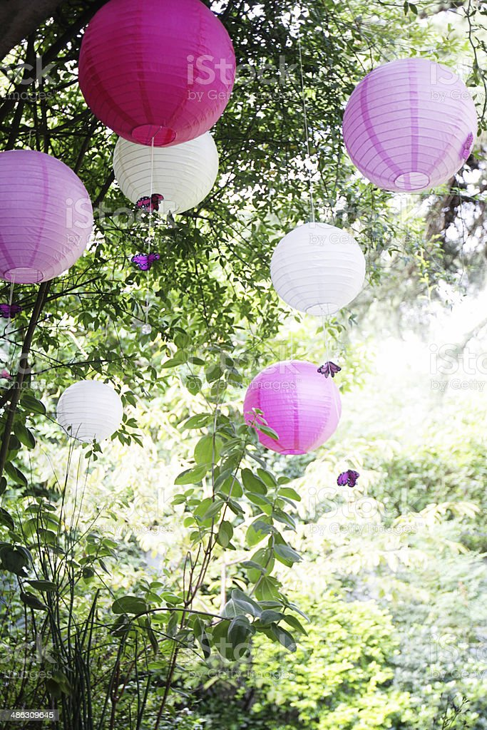 Paper balloon decoration outdoor summer garden party stock photo