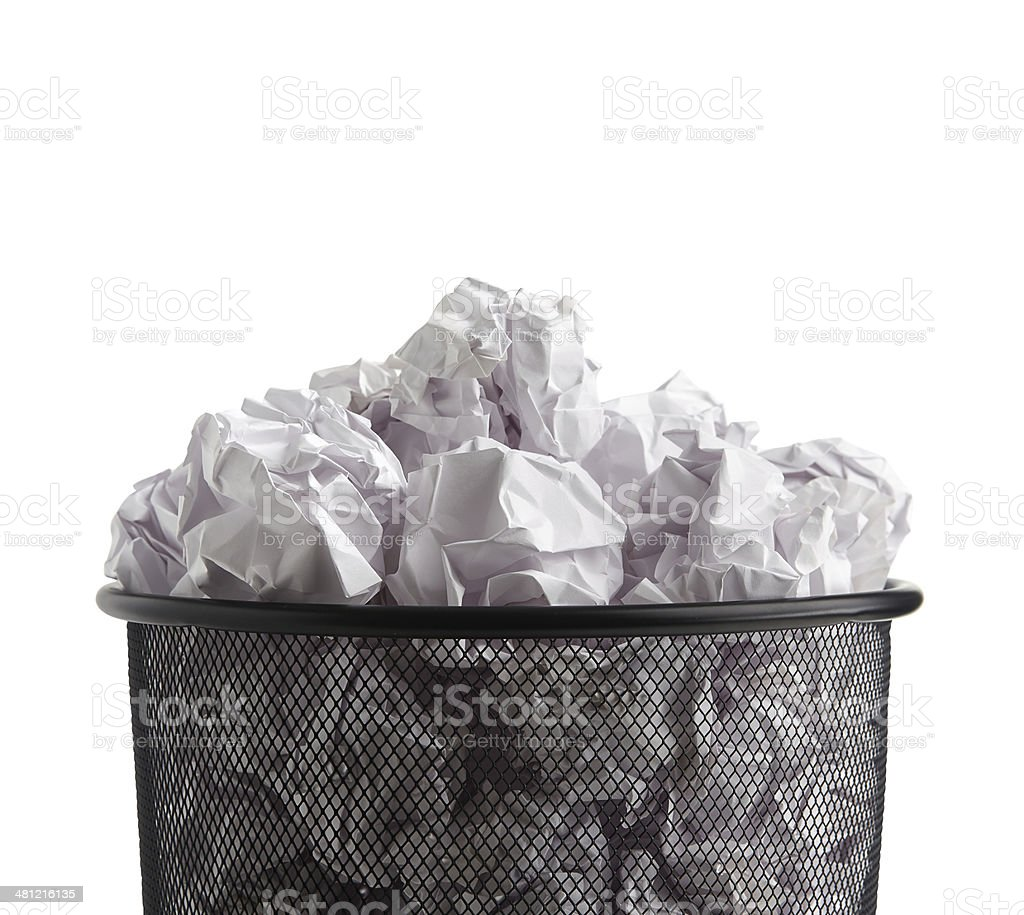 Paper balls in basket stock photo