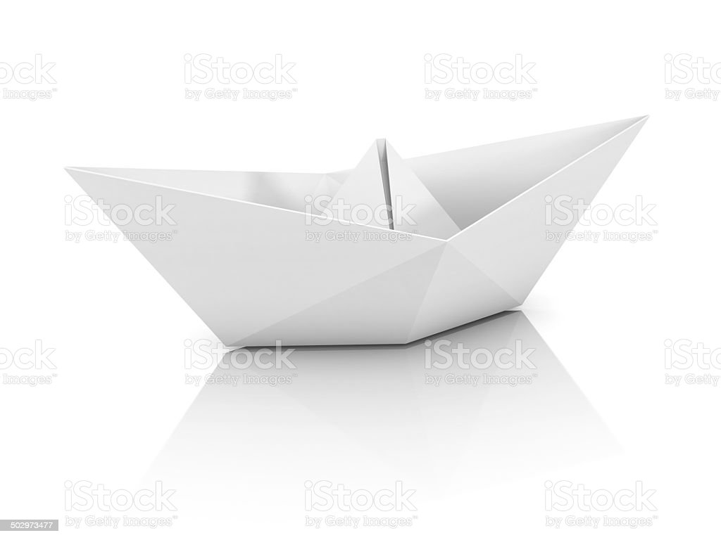 paper boat 3d illustration stock photo
