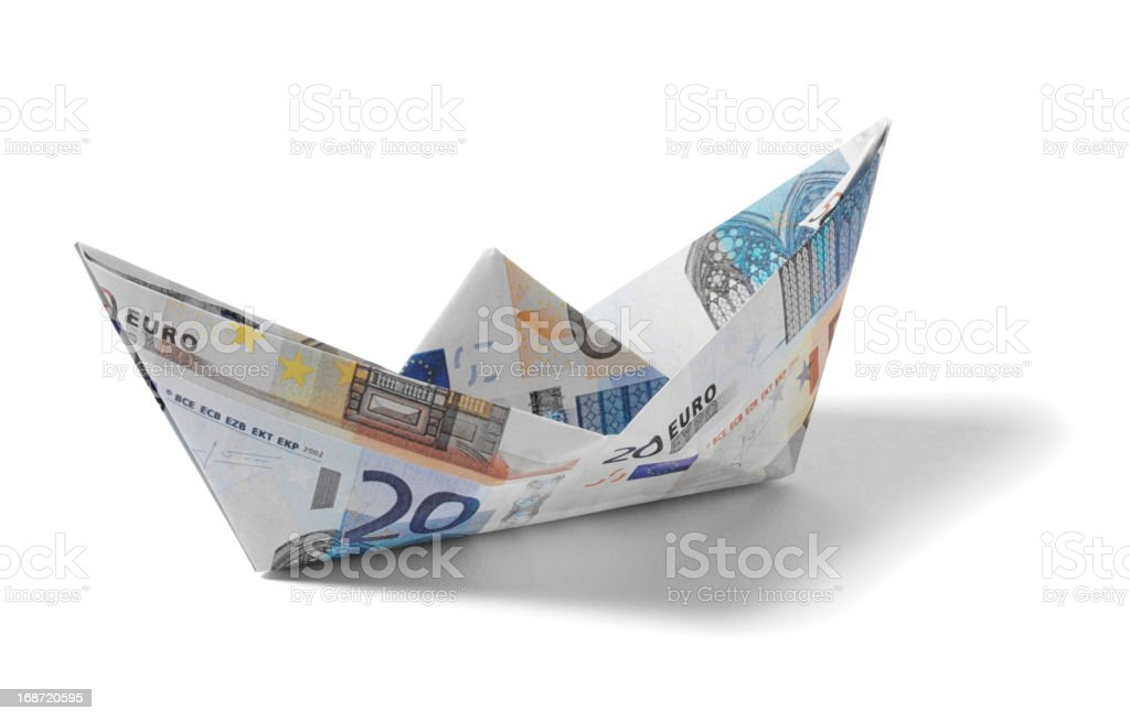 Paper Boat made from Euros stock photo