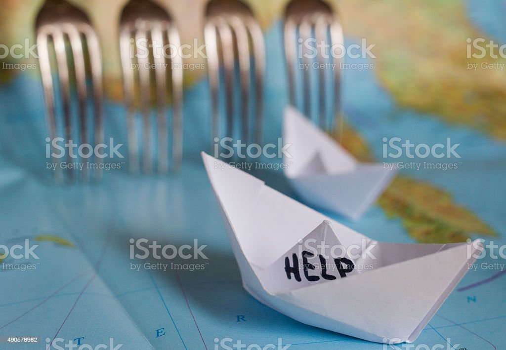 Paper Boat Map Fence Refugees stock photo