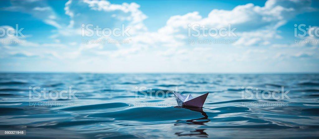 Paper Boat Panorama stock photo
