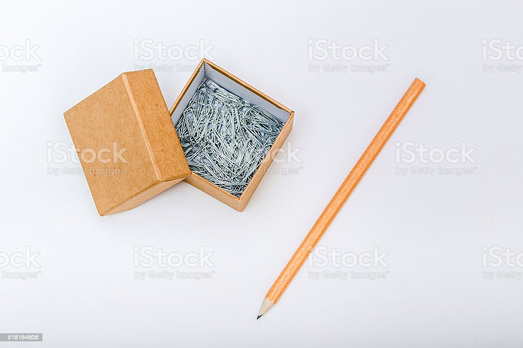 Paper box and clips composition stock photo
