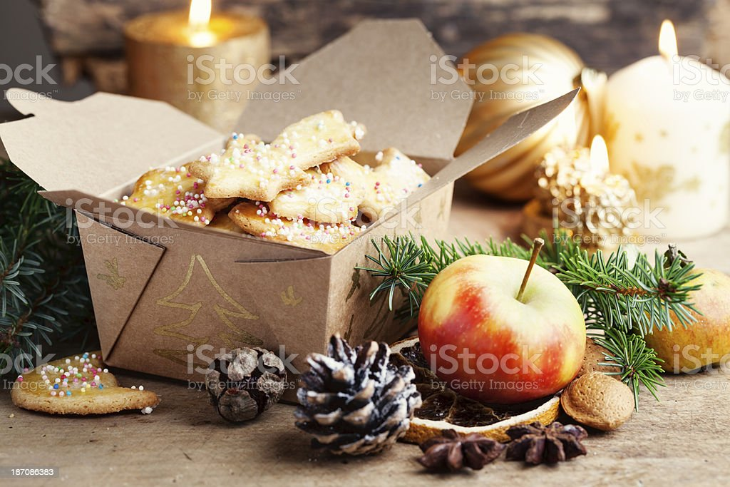 paper box with christmas sugar cookies gift stock photo