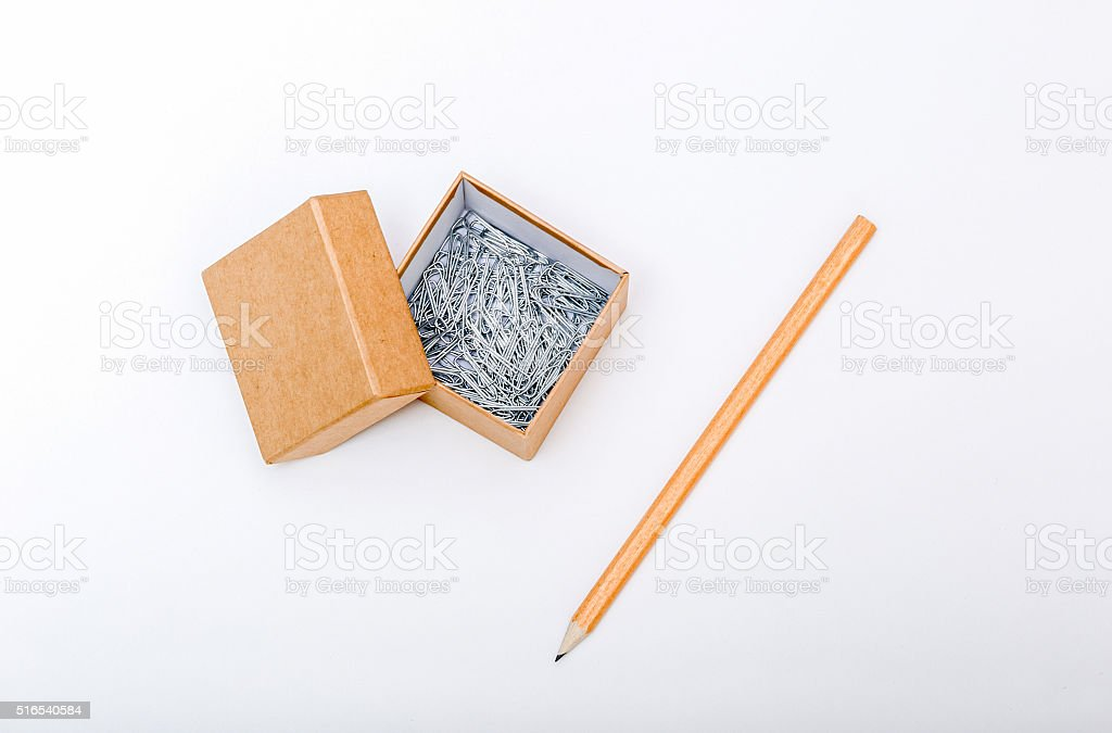Paper box with clips inside stock photo