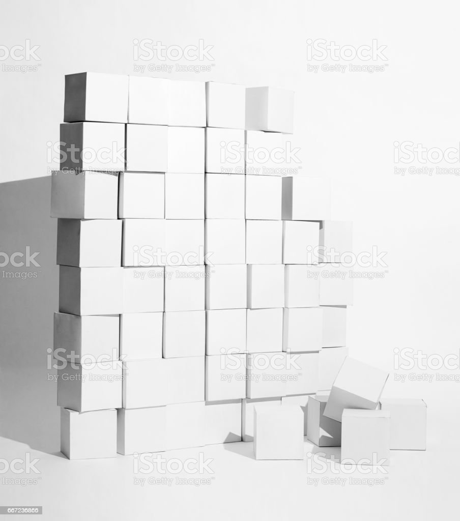 Paper boxes stacked on background stock photo