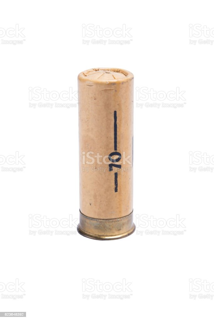 Paper brown bullet for shotgun with large shot, on white background stock photo