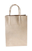 Paper brown shopping bag isolated on white background