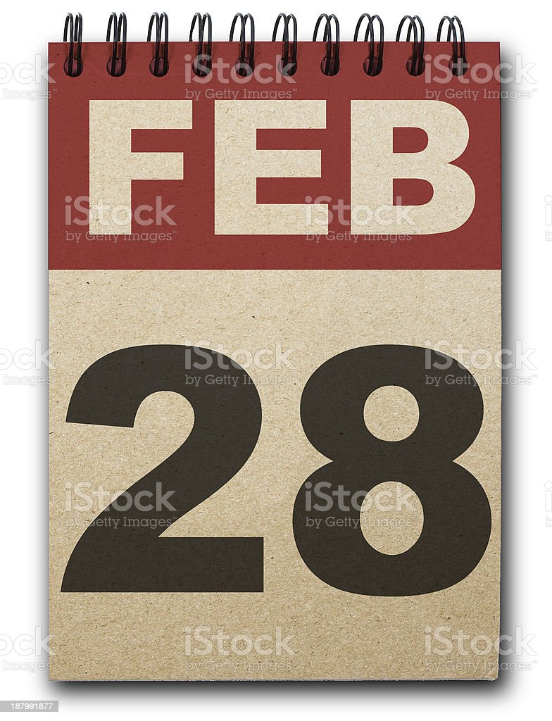 A paper calendar with the front page dated Feb 28  stock photo