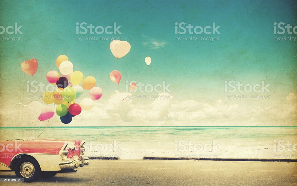 paper card car with heart balloon stock photo