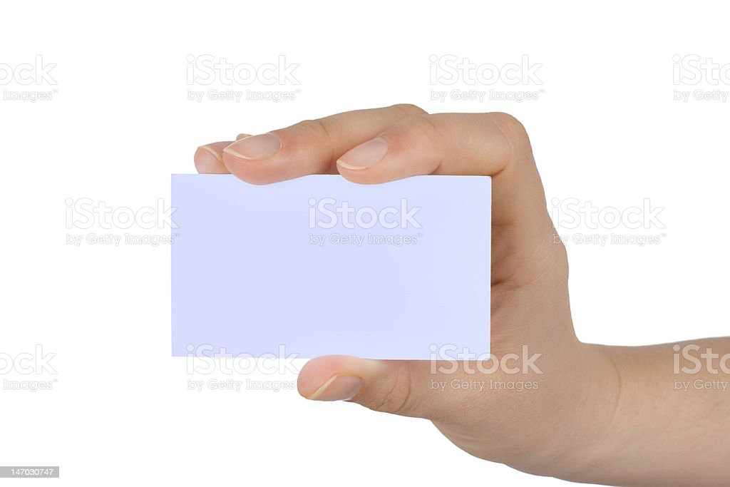 Paper card in woman hand royalty-free stock photo