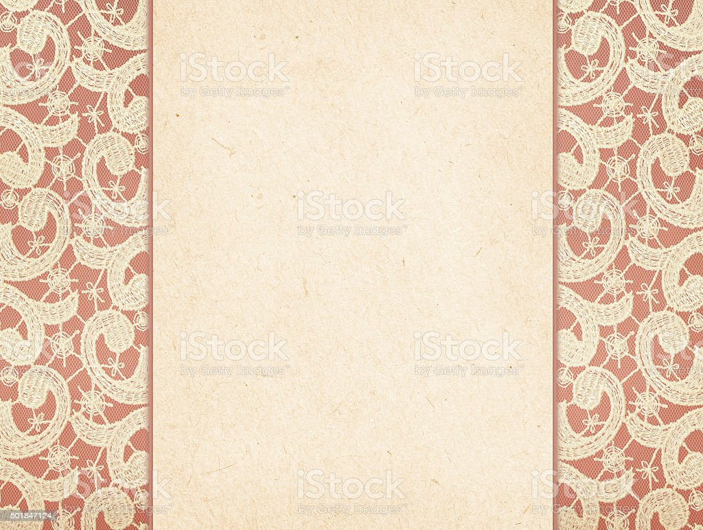 Paper card on lace stock photo