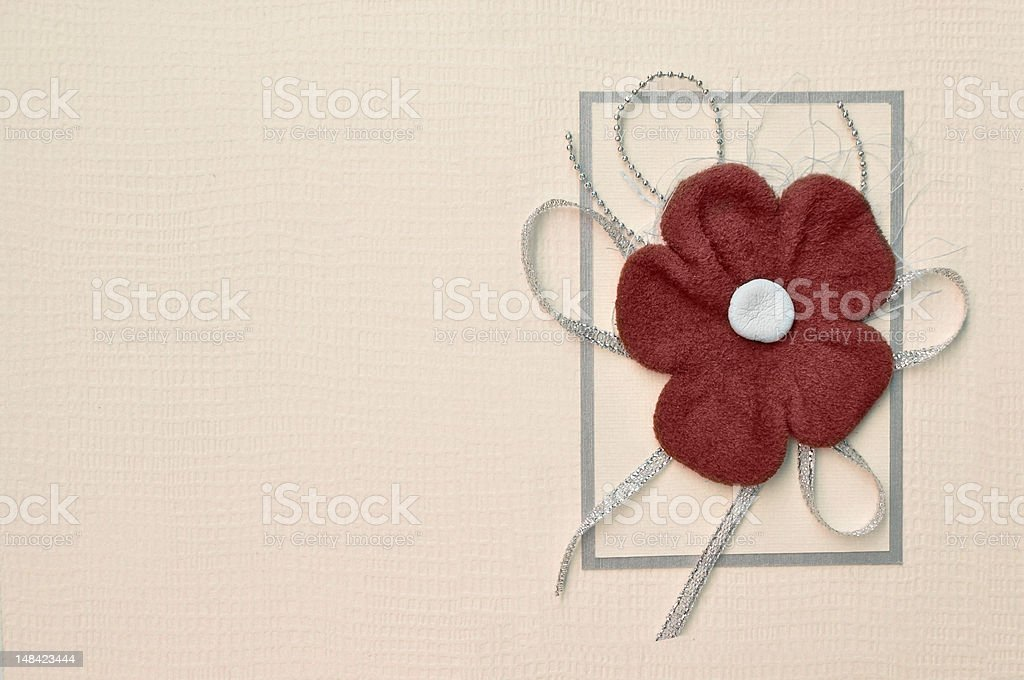 paper card with red suede flower design royalty-free stock photo