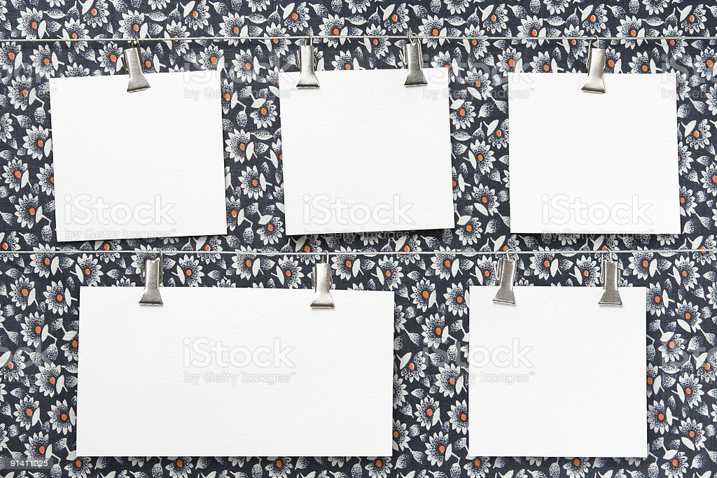 paper cards on clothespins royalty-free stock photo
