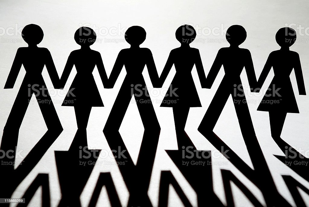 Paper Chain Men and Women close up royalty-free stock photo
