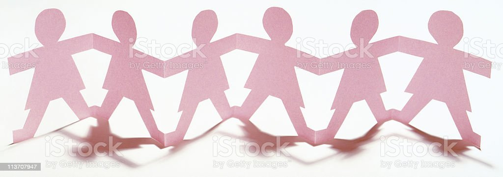 Paper Chain Men  and women on white background,  horizontal stock photo