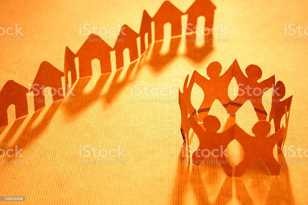 Paper chain neighborhood and community royalty-free stock photo