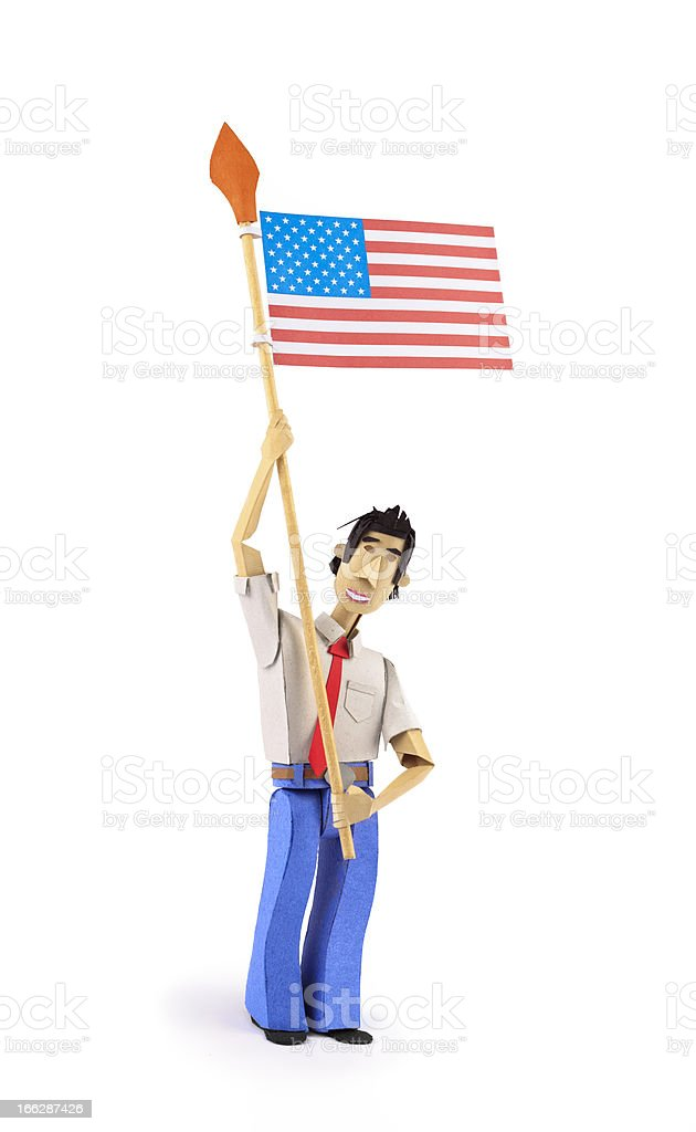 Paper Character holding USA flag royalty-free stock photo
