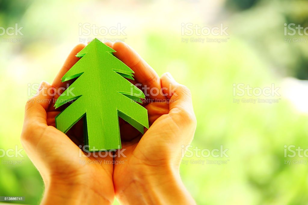 Paper christmas tree in human hand stock photo