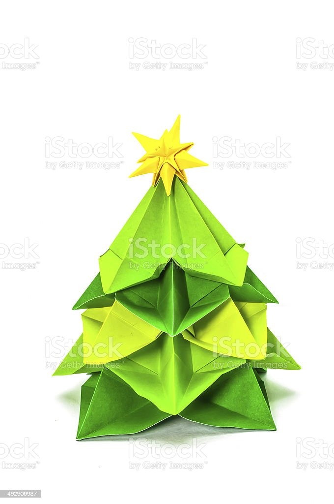 Paper Christmas tree  isolated on white background royalty-free stock photo