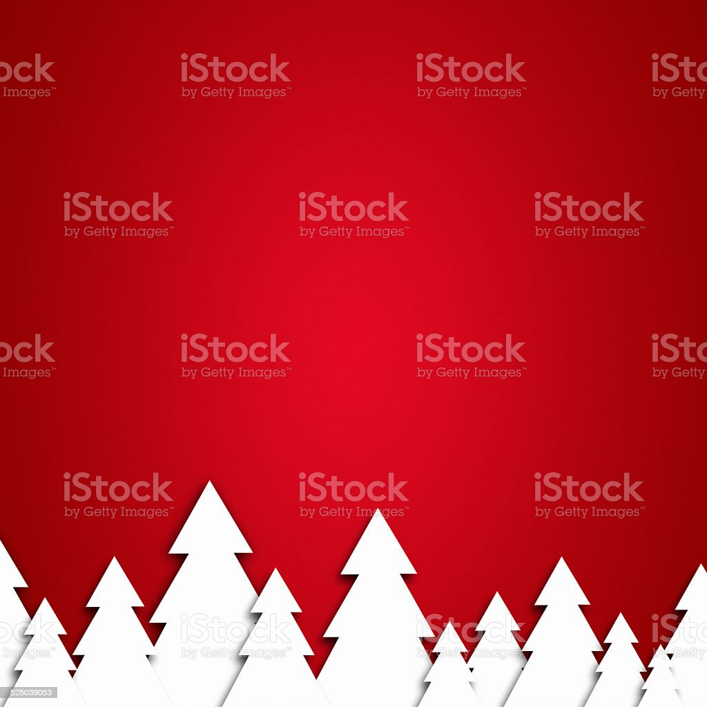 paper christmas tree on a red background stock photo