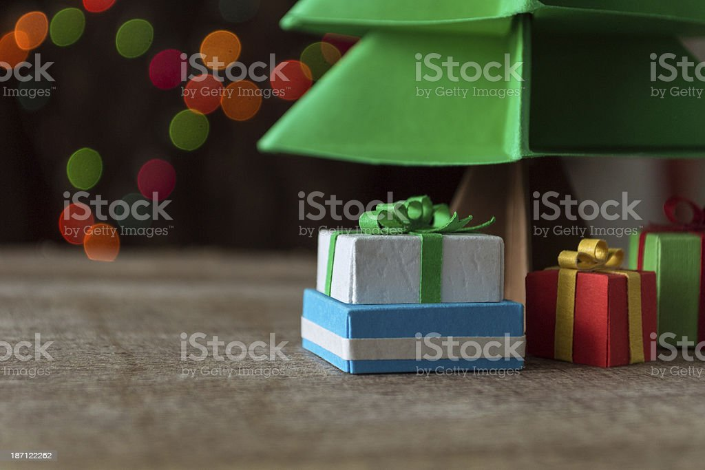 Paper christmas tree with gifts royalty-free stock photo