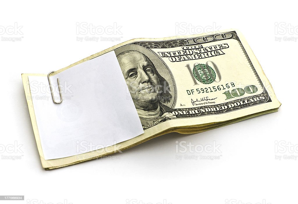 paper cliping on cash royalty-free stock photo