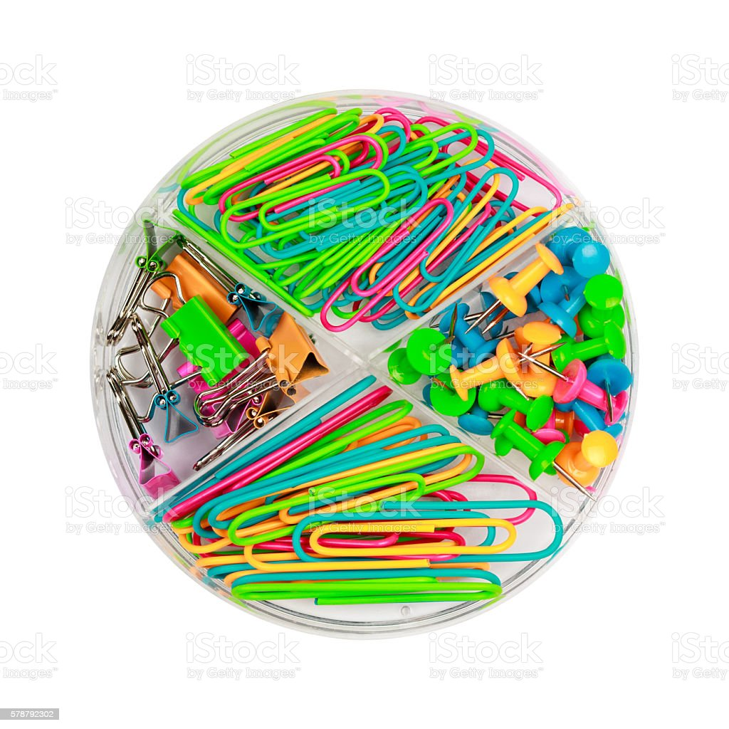 Paper clips and push-pins in a box stock photo