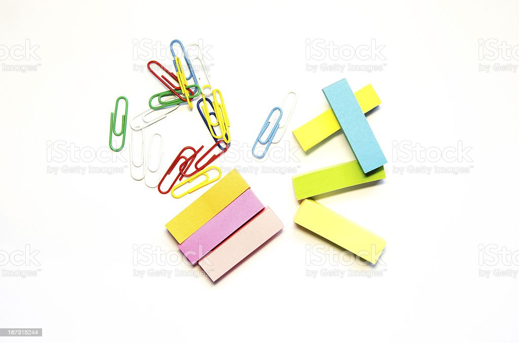 paper clips and stick isolate stock photo