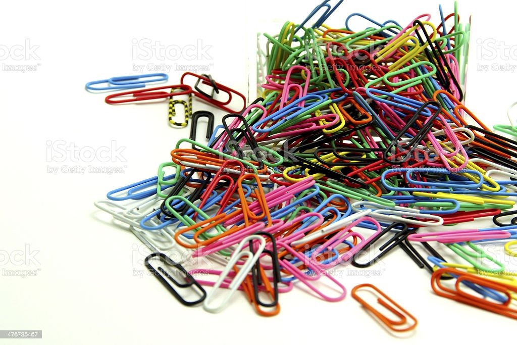 Paper Clips in Acrylic Box royalty-free stock photo