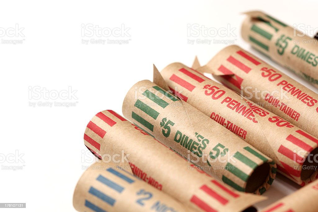 Paper coin roll stock photo