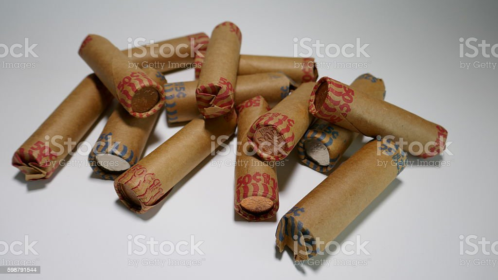 Paper Coin Rolls stock photo
