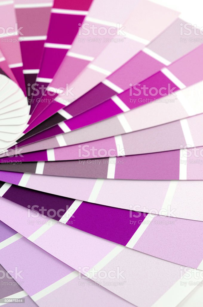 paper color swatches with purple color stock photo