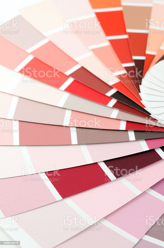 paper color swatches with red color stock photo
