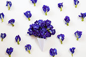 paper cone with Butterfly pea bouquet