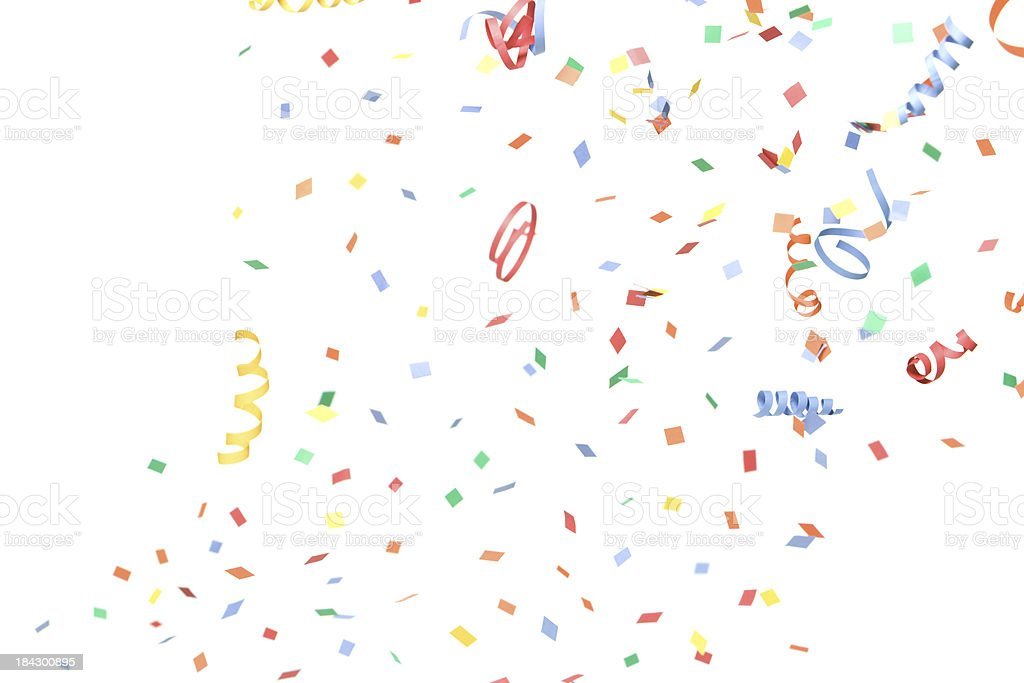 Paper Confetti and Streamers Falling, Isolated on White royalty-free stock photo