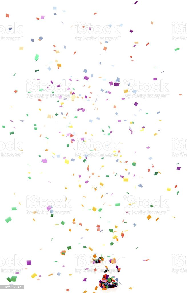 Paper Confetti Falling, Isolated on White stock photo