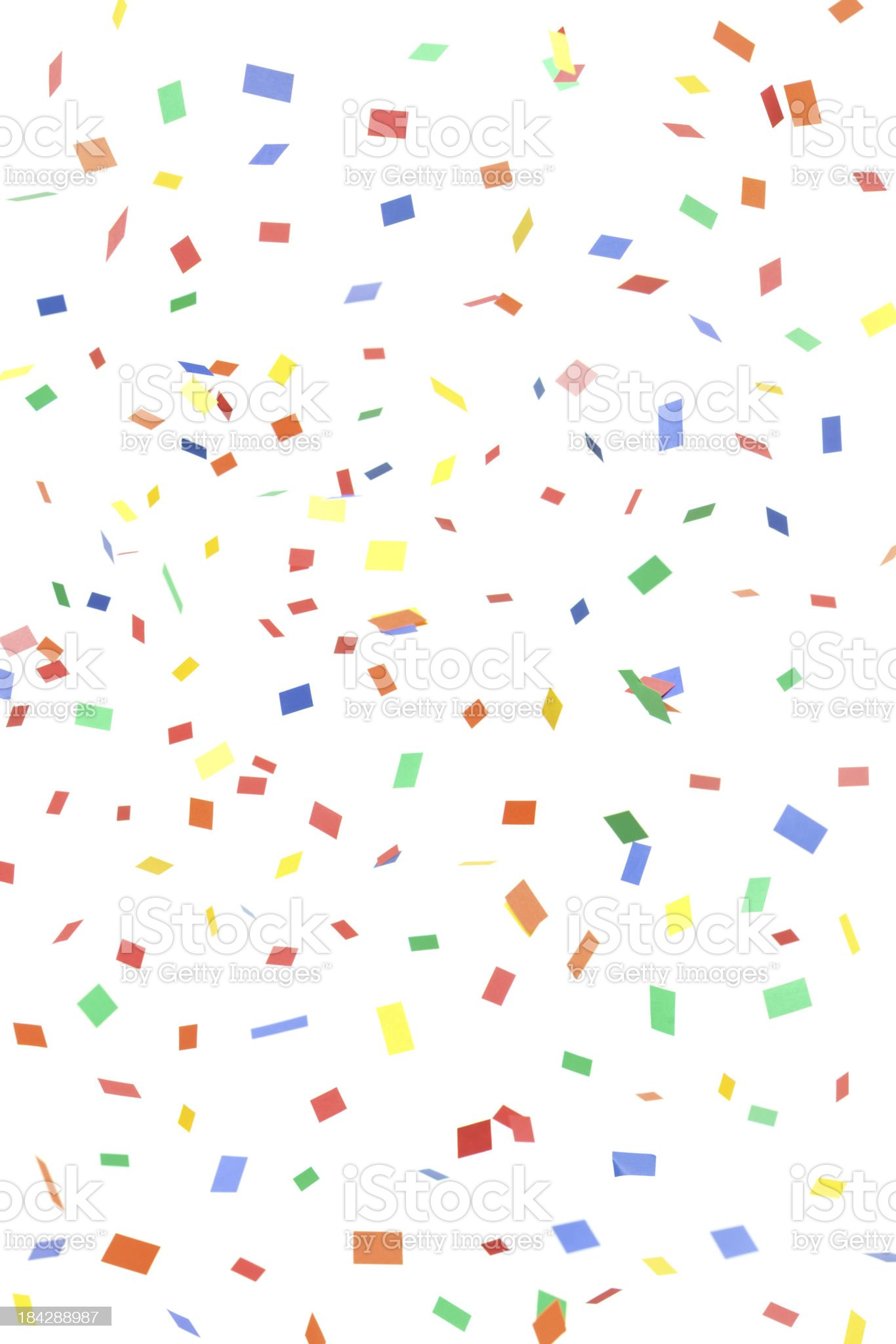 Paper Confetti Rectangles and Squares Falling, Isolated on White royalty-free stock photo