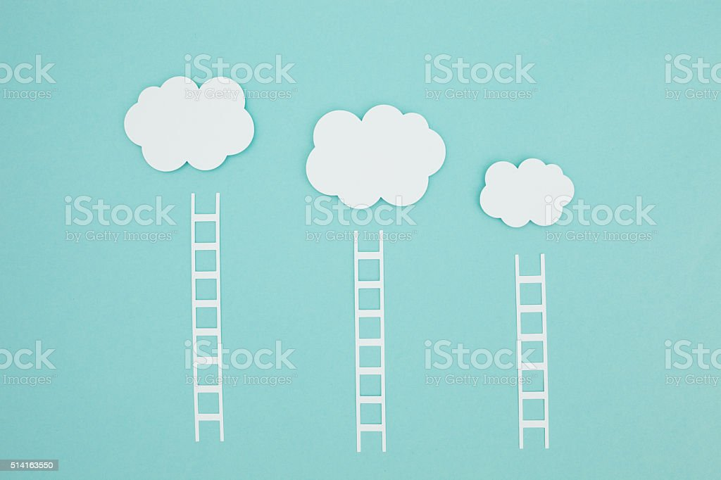 Paper craft cloud storage stock photo