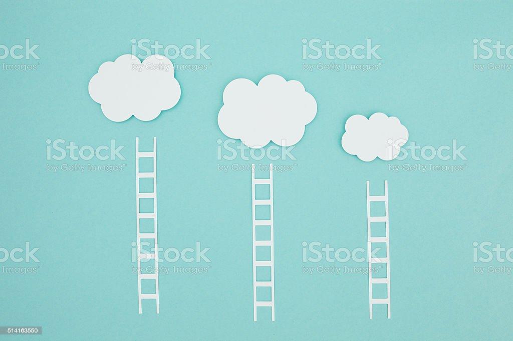 Paper craft cloud storage stock photo
