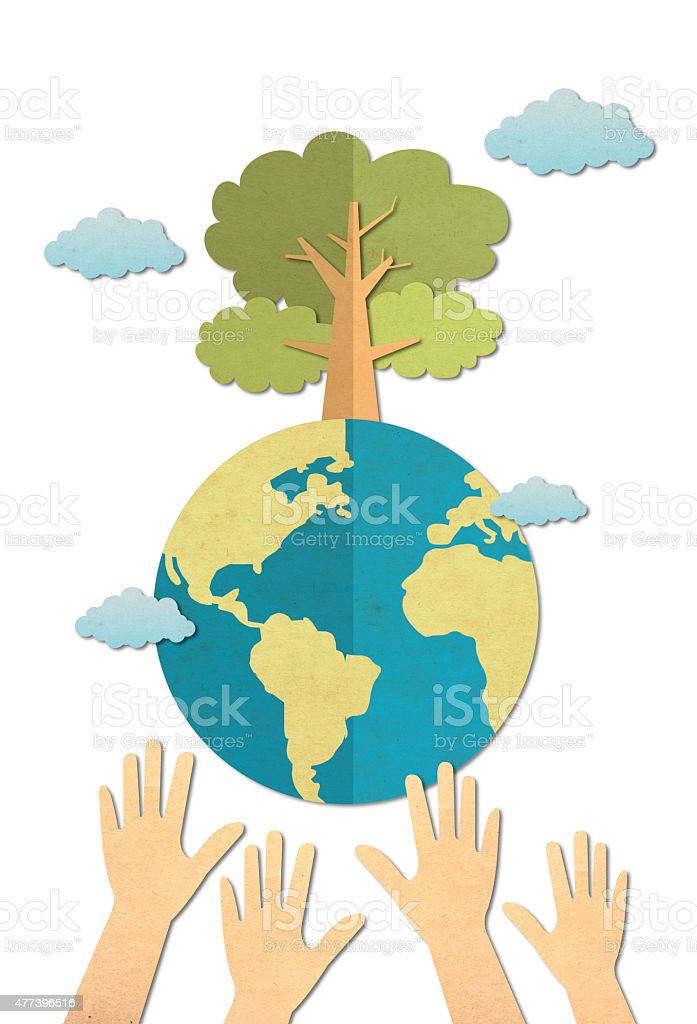 paper craft stick save the world concept royalty-free stock photo