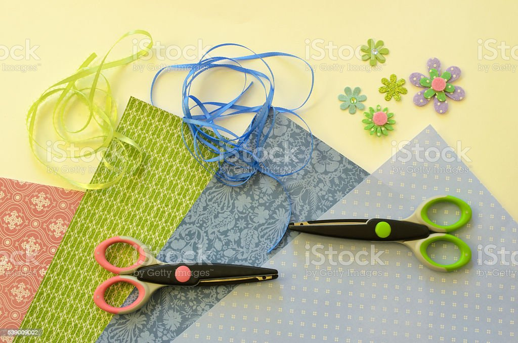 Paper Crafting Materials stock photo