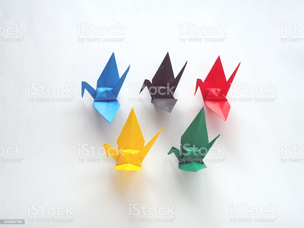 Paper Crane - Facing Left - 5 Color Origami stock photo